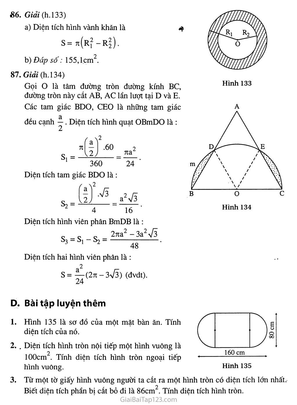 Bài 10. Diện tích hình tròn, hình quạt tròn trang 5