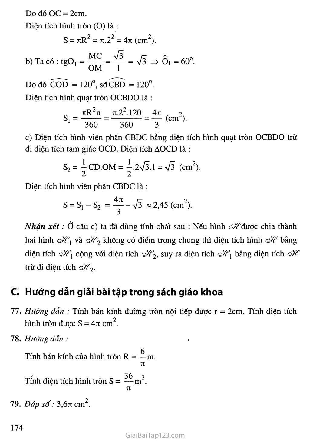 Bài 10. Diện tích hình tròn, hình quạt tròn trang 2