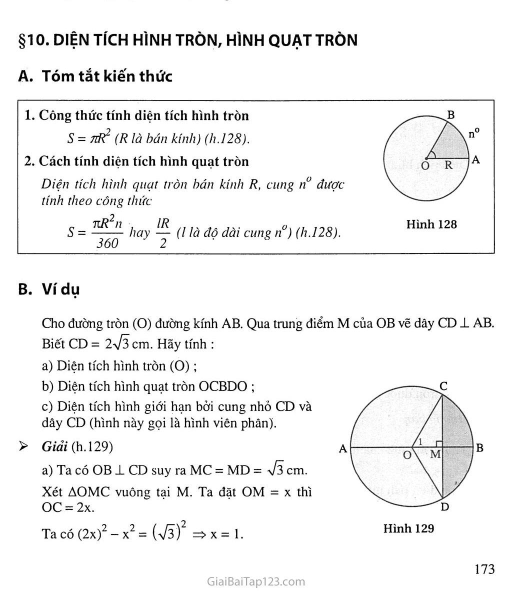 Bài 10. Diện tích hình tròn, hình quạt tròn trang 1