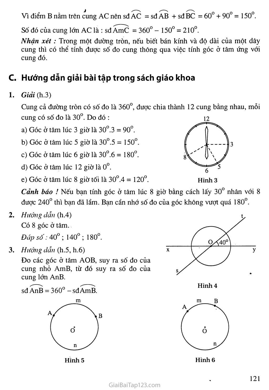 Bài 1. Góc ở tâm. Số đo cung trang 2