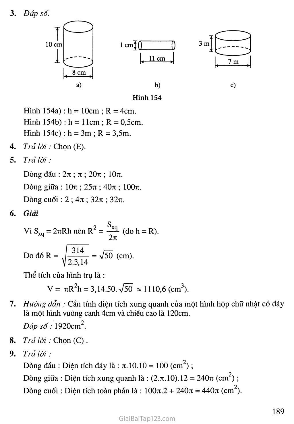 Bài 1. Hình trụ - Diện tích xung quanh và thể tích của hình trụ trang 3