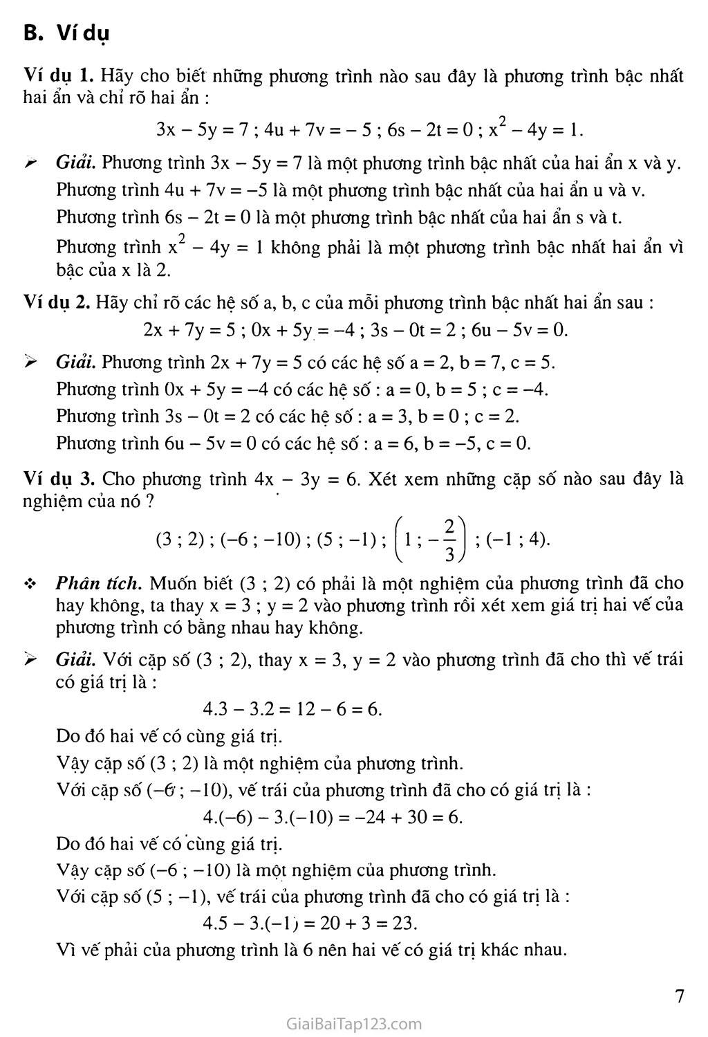 Bài 1. Phương trình bậc nhất hai ẩn trang 3