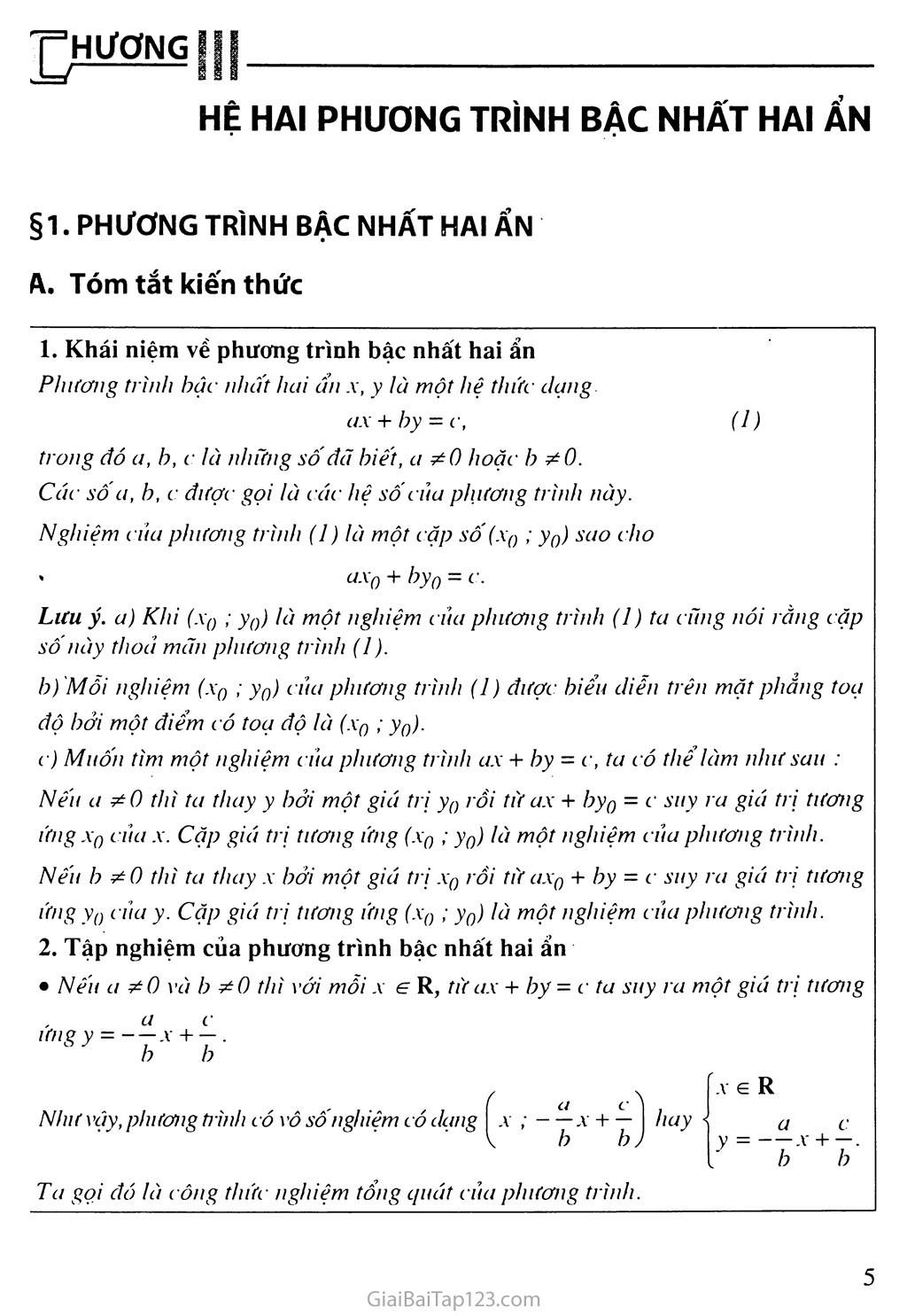 Bài 1. Phương trình bậc nhất hai ẩn trang 1