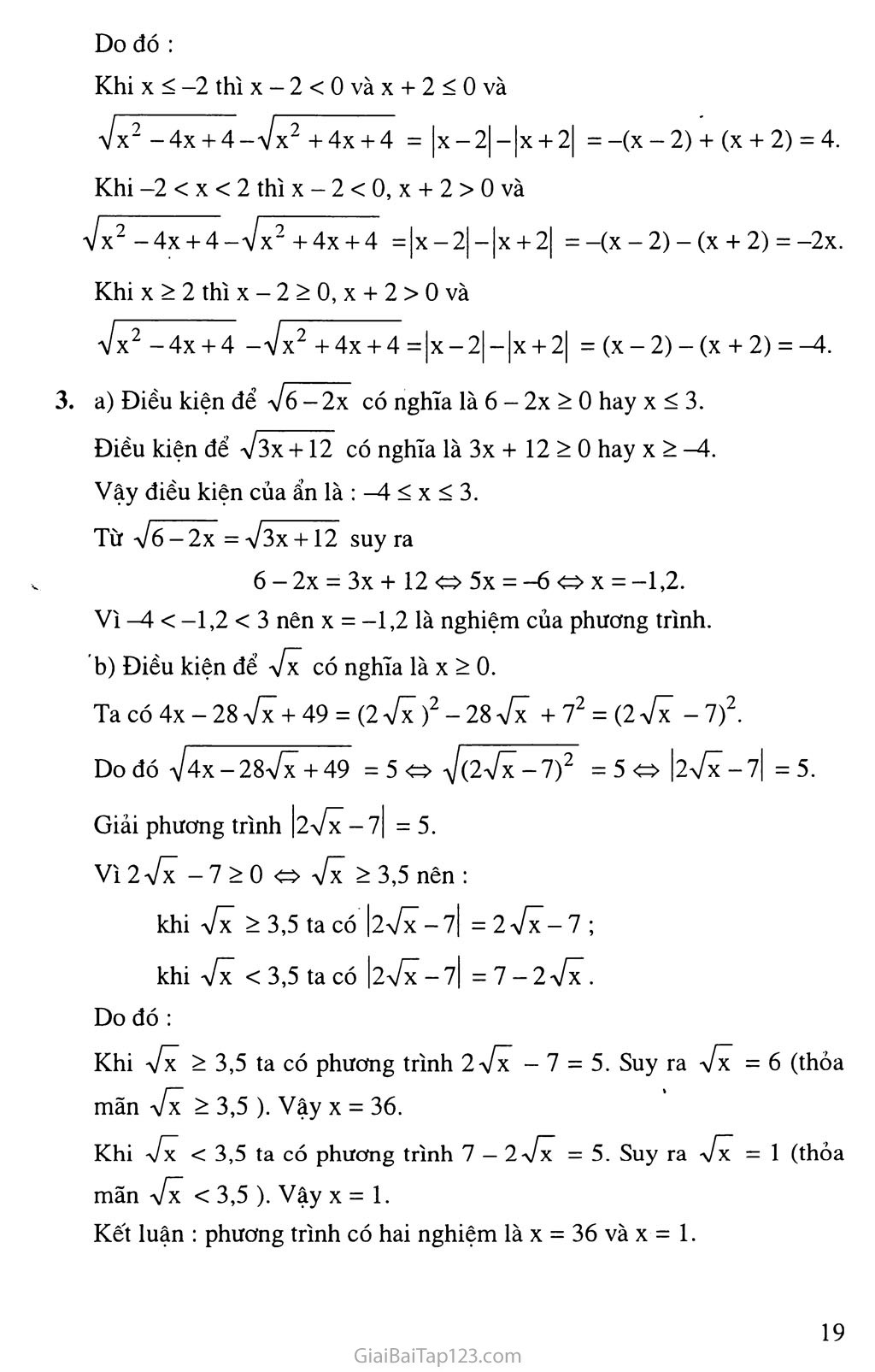 Bài 2. Căn thức bậc hai và hằng đẳng thức trang 8