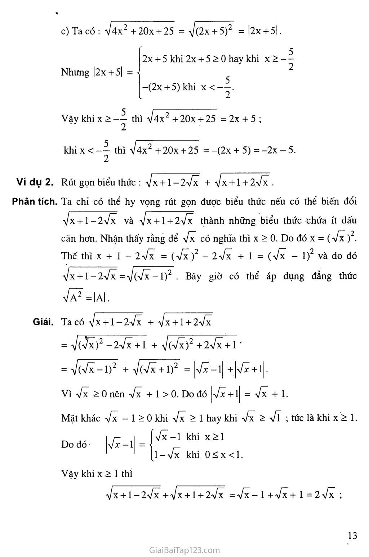 Bài 2. Căn thức bậc hai và hằng đẳng thức trang 2