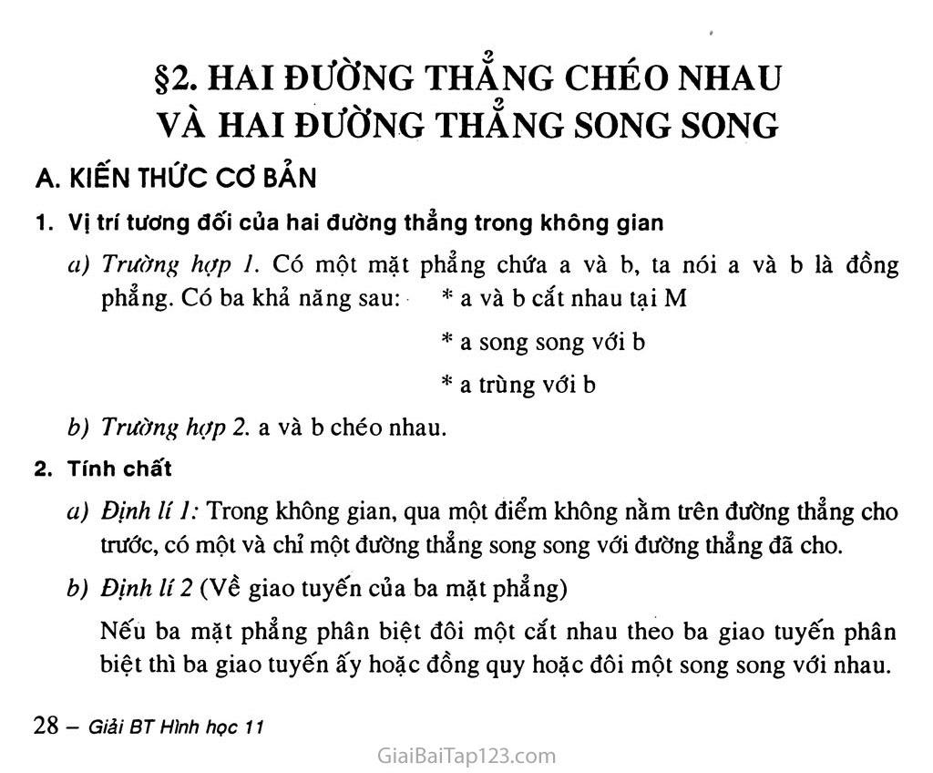 Bài 2. Hai đường thẳng chéo nhau và hai đường thẳng song song trang 1