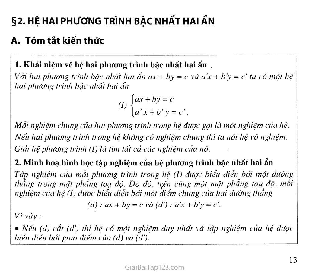 Bài 2. Hệ hai phương trình bậc nhất hai ẩn trang 1