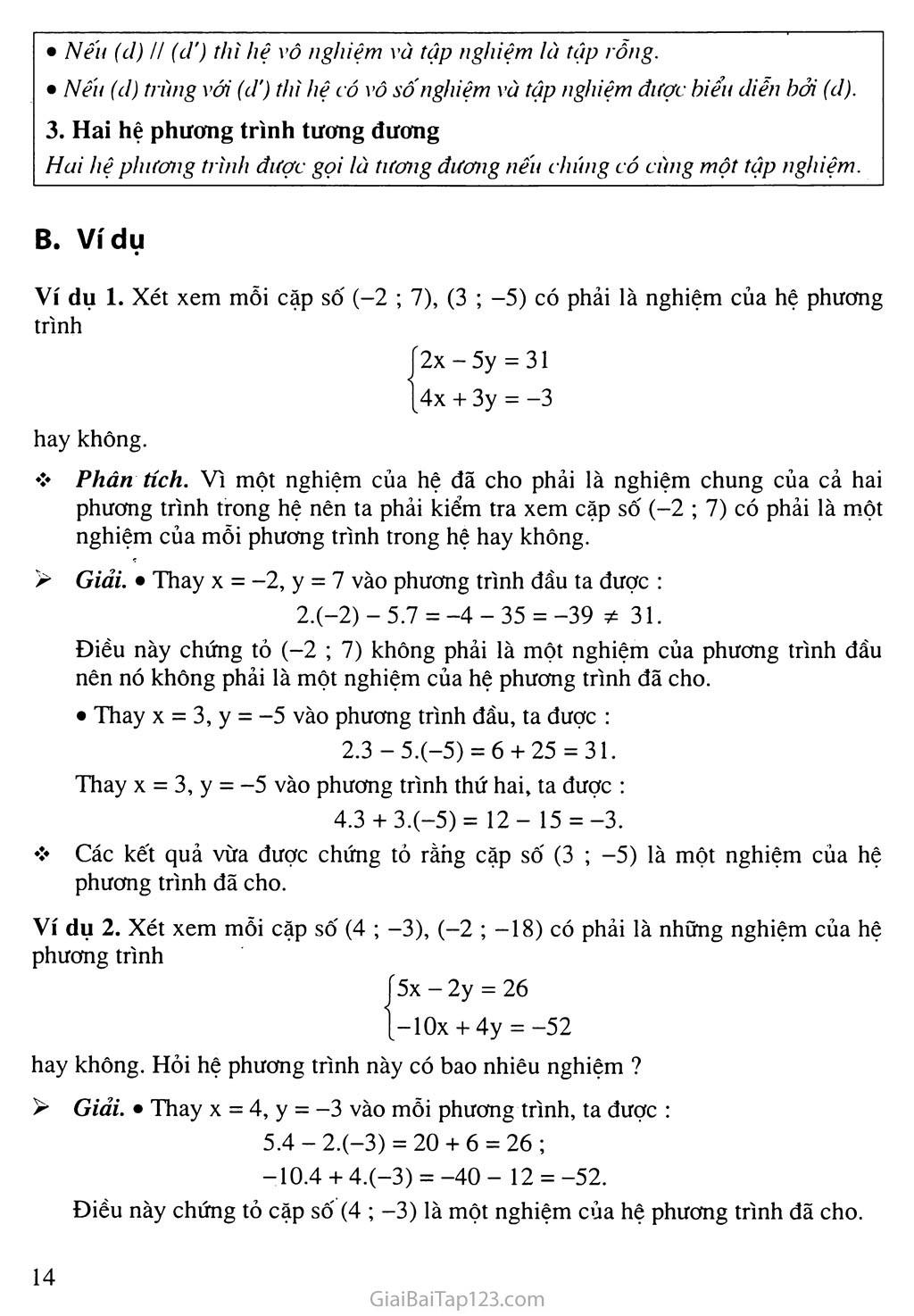 Bài 2. Hệ hai phương trình bậc nhất hai ẩn trang 2
