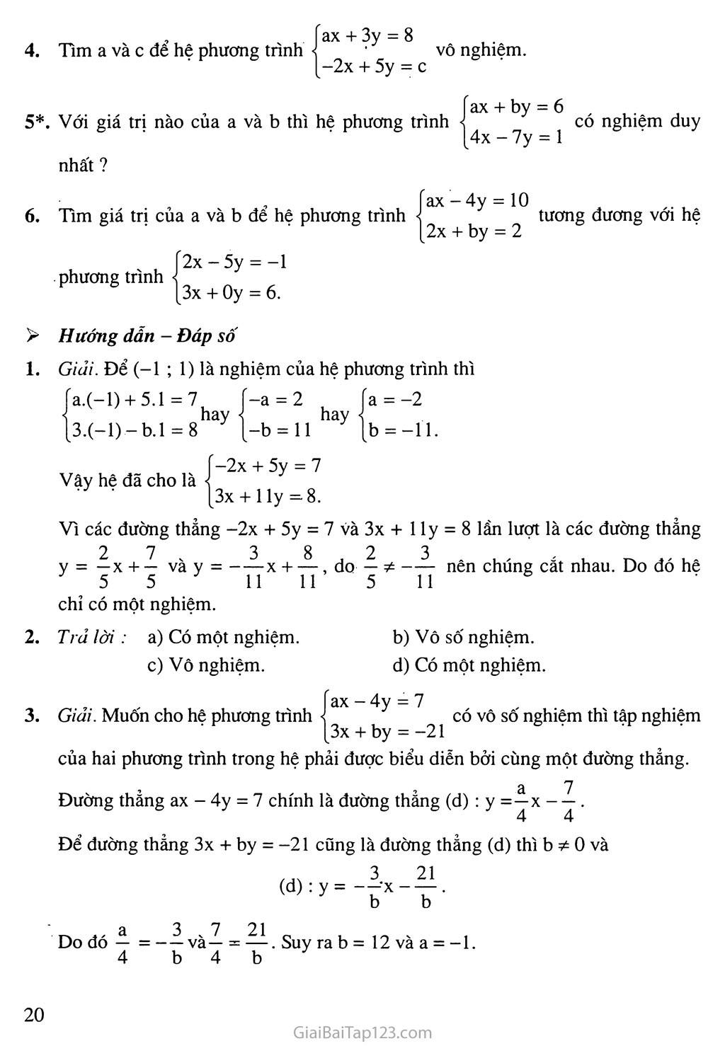 Bài 2. Hệ hai phương trình bậc nhất hai ẩn trang 8
