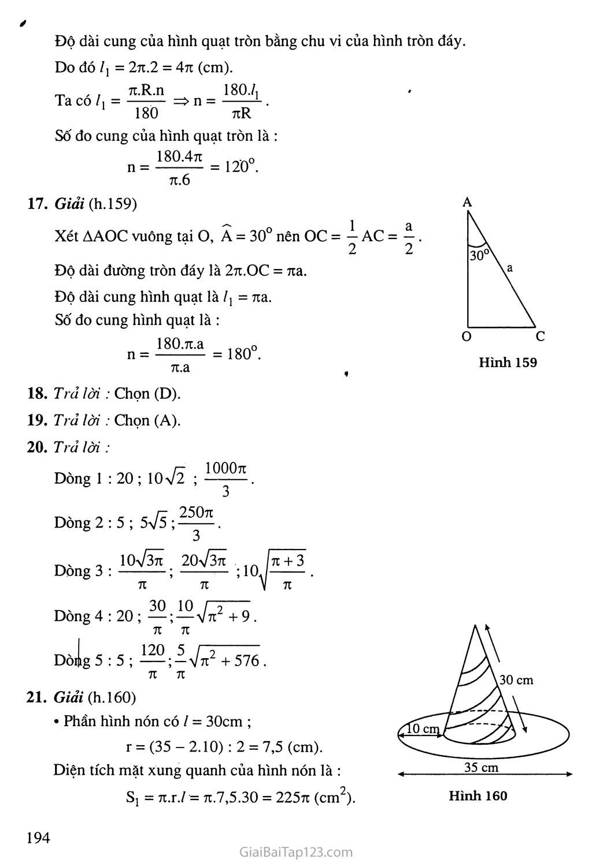 Bài 2. Hình nón - Hình nón cụt - Diện tích xung quanh và thể tích của hình nón, hình nón cụt trang 4
