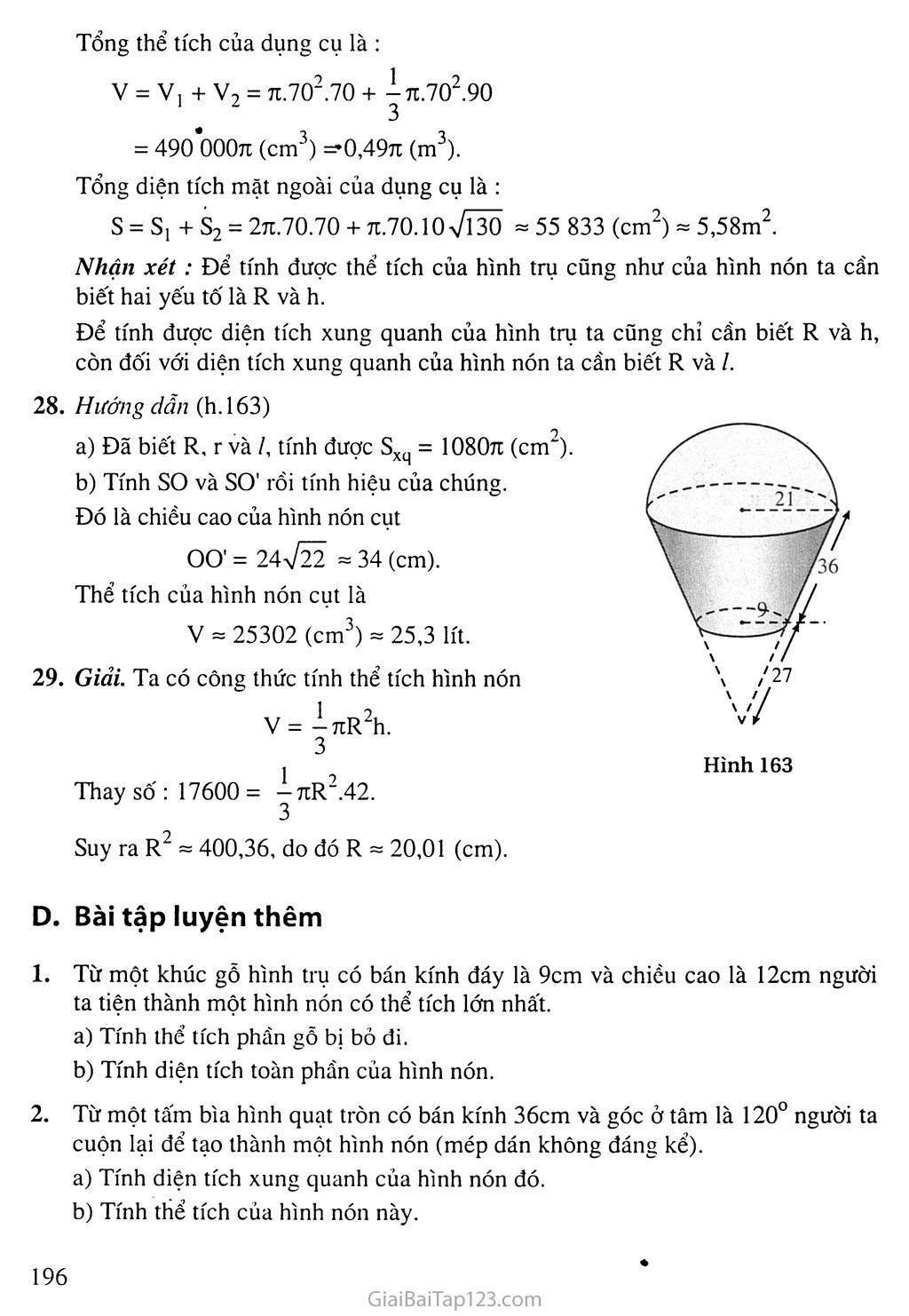 Bài 2. Hình nón - Hình nón cụt - Diện tích xung quanh và thể tích của hình nón, hình nón cụt trang 6