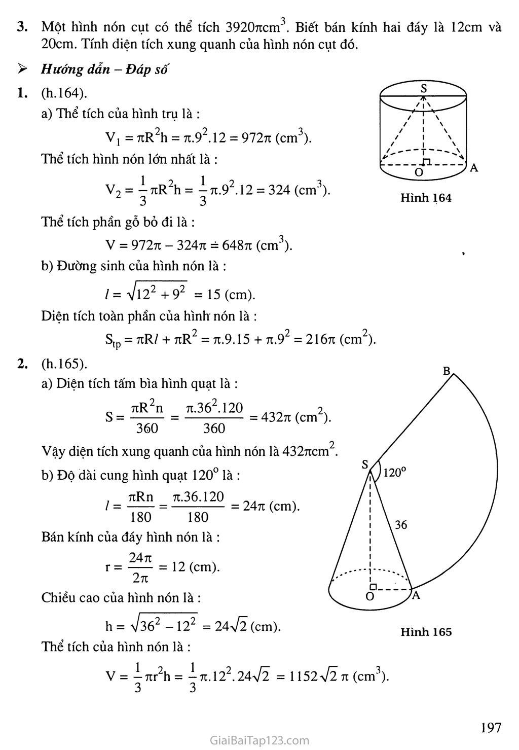 Bài 2. Hình nón - Hình nón cụt - Diện tích xung quanh và thể tích của hình nón, hình nón cụt trang 7