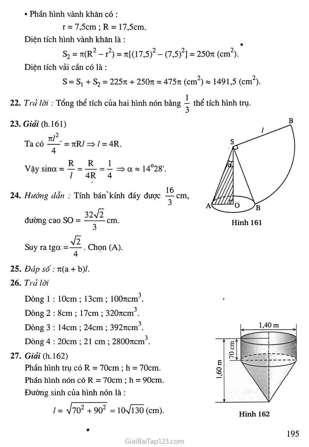 Bài 2. Hình nón - Hình nón cụt - Diện tích xung quanh và thể tích của hình nón, hình nón cụt trang 5