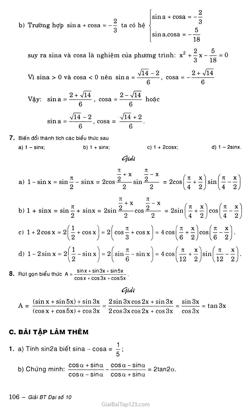 Bài 3. Công thức lượng giác trang 6