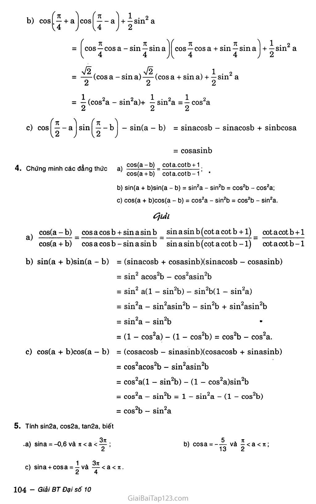 Bài 3. Công thức lượng giác trang 4