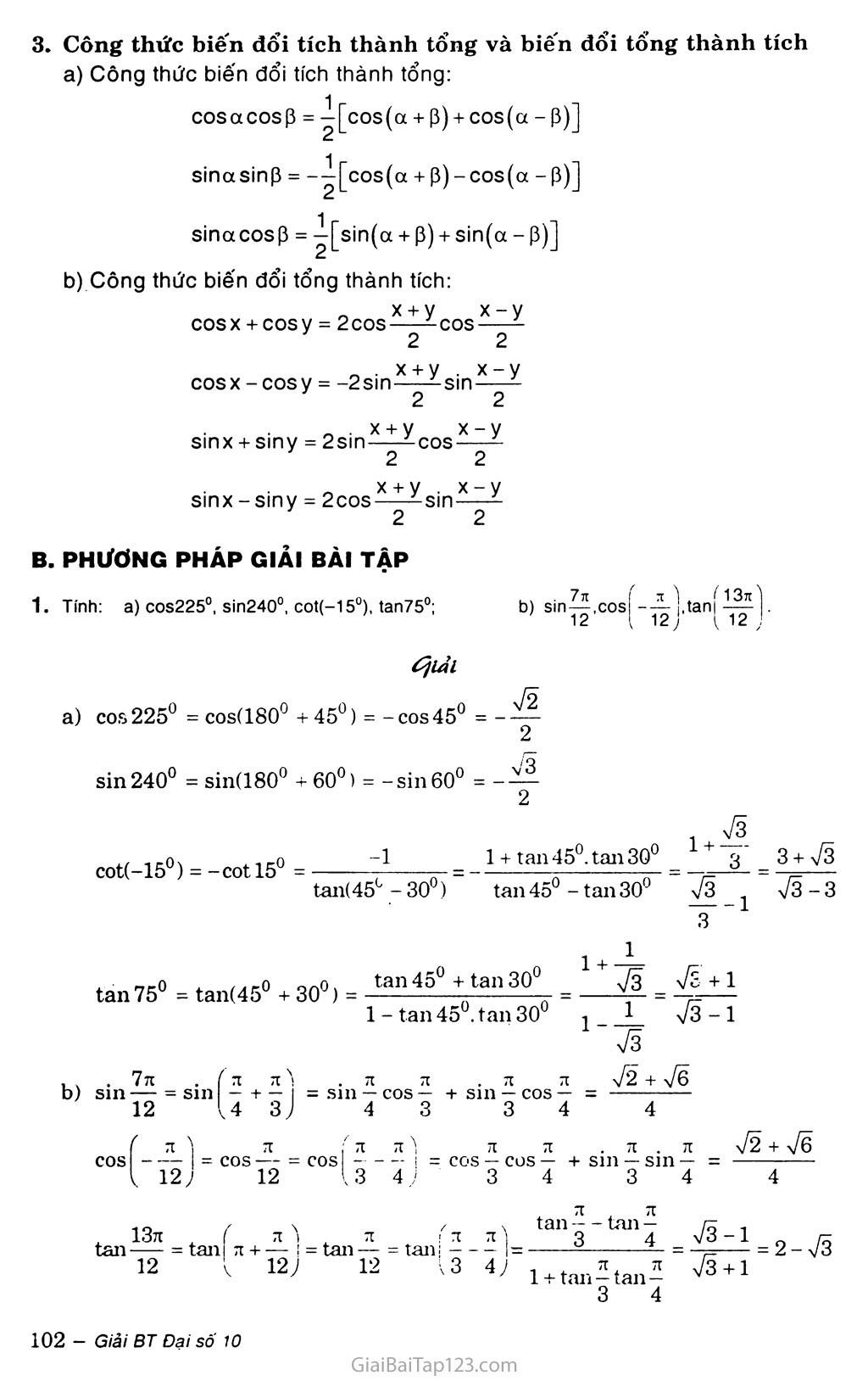 Bài 3. Công thức lượng giác trang 2