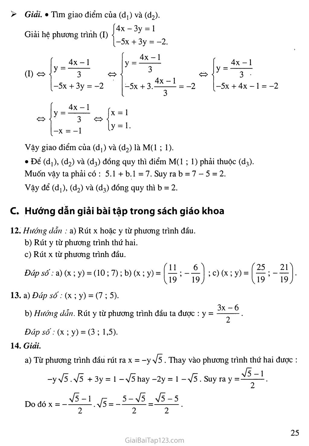 Bài 3. Giải hệ phương trình bằng phương pháp thế trang 4