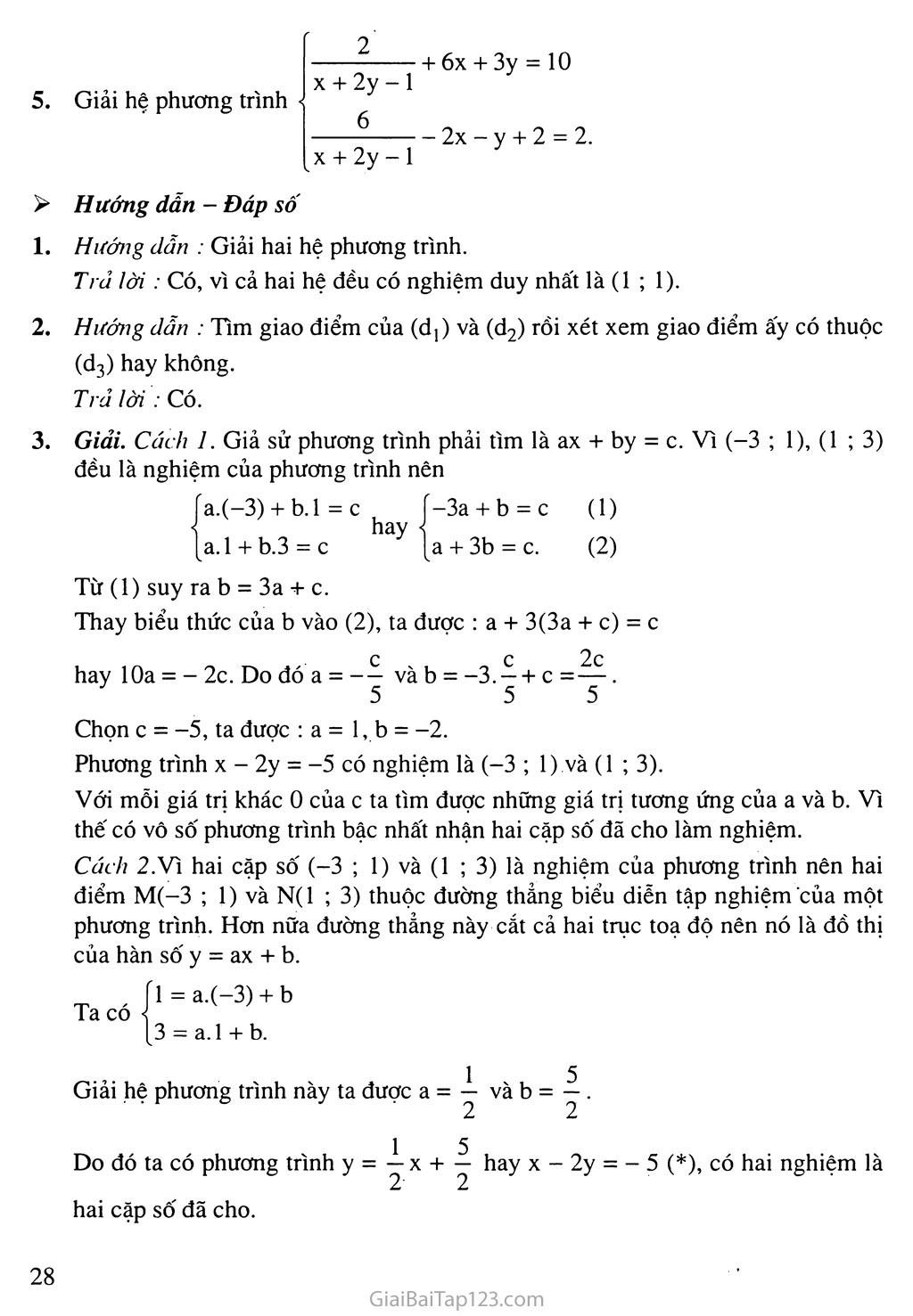 Bài 3. Giải hệ phương trình bằng phương pháp thế trang 7
