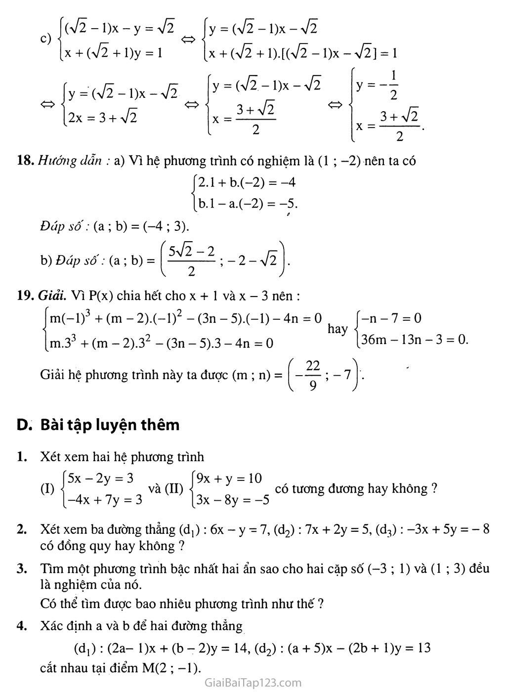 Bài 3. Giải hệ phương trình bằng phương pháp thế trang 6