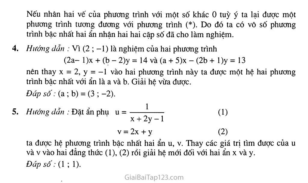 Bài 3. Giải hệ phương trình bằng phương pháp thế trang 8