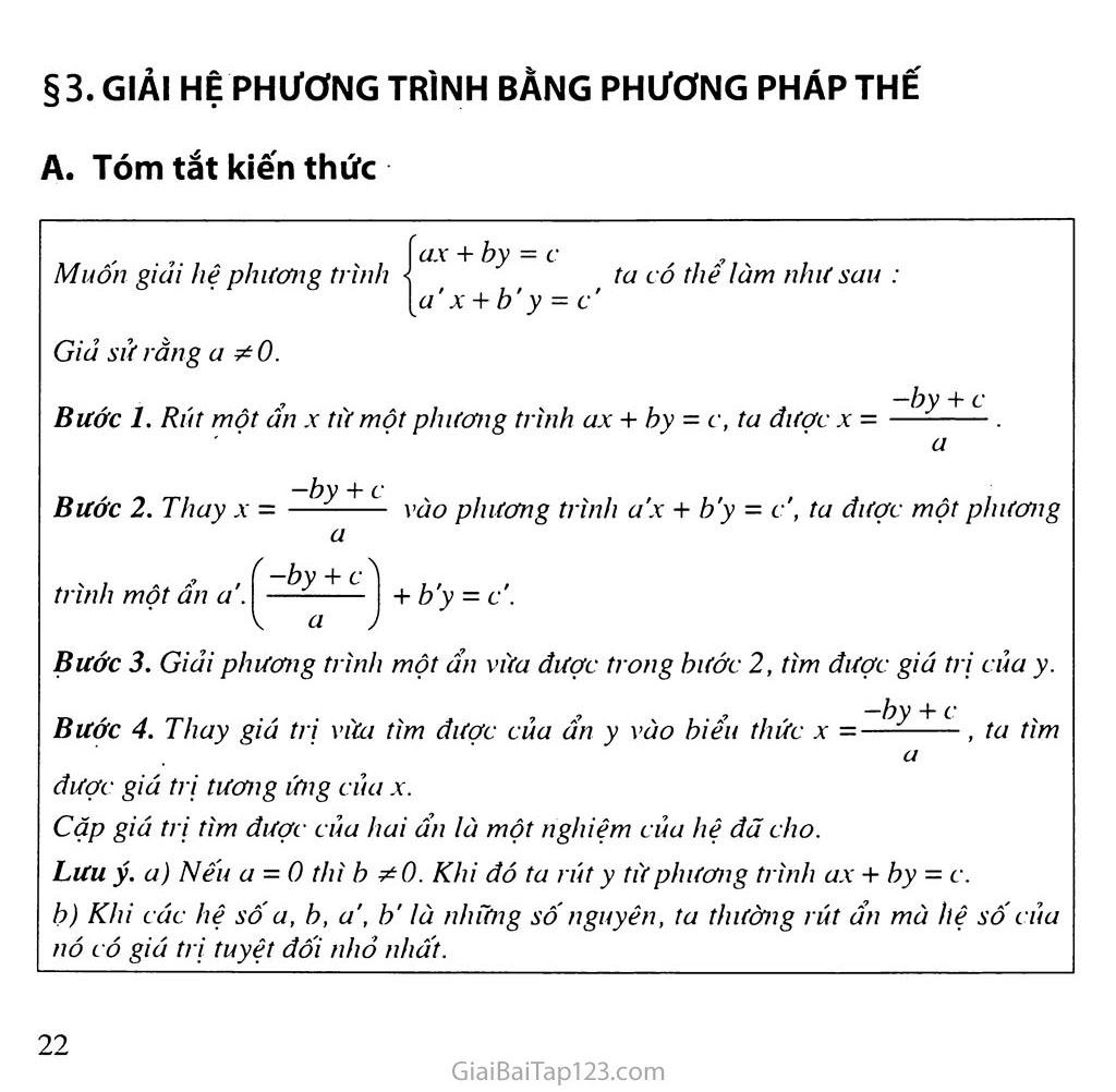 Bài 3. Giải hệ phương trình bằng phương pháp thế trang 1
