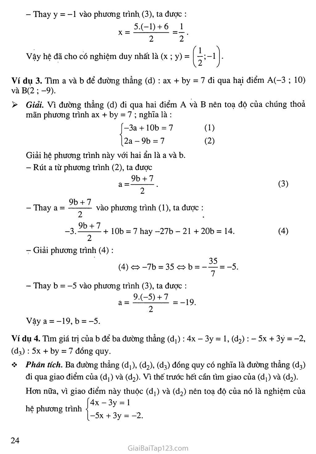Bài 3. Giải hệ phương trình bằng phương pháp thế trang 3