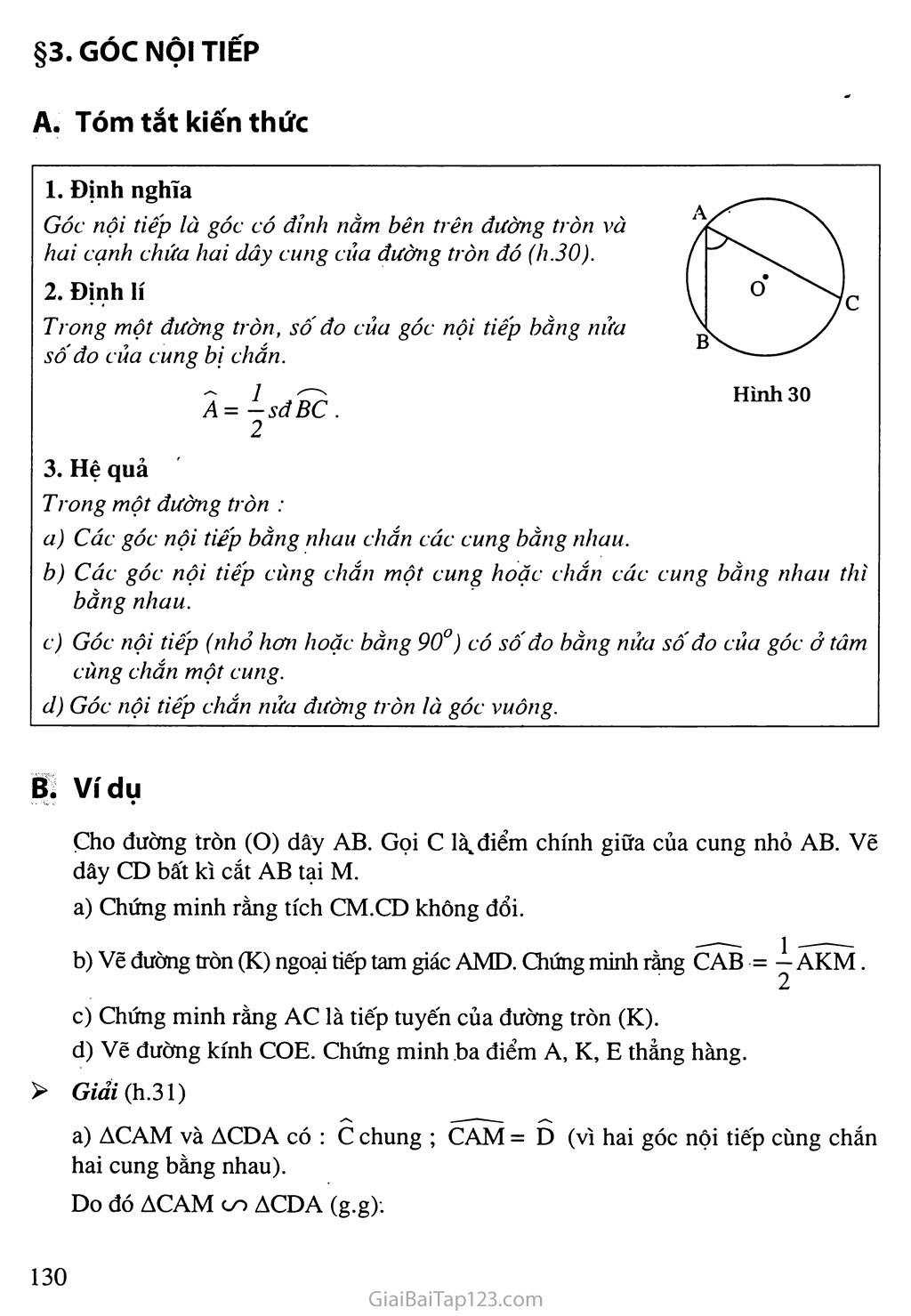 Bài 3. Góc nội tiếp trang 1