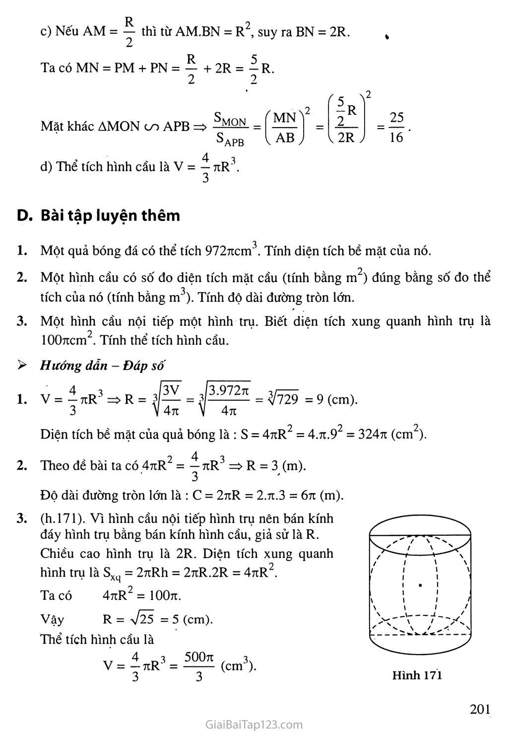 Bài 3. Hình cầu - Diện tích mặt cầu và thể tích mặt cầu trang 4