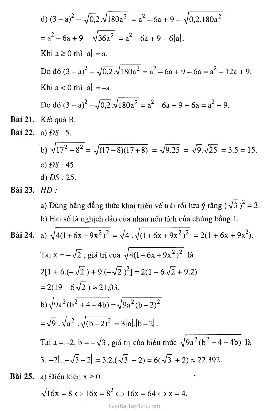 Bài 3.  Liên hệ giữa phép nhân và phép khai phương trang 4