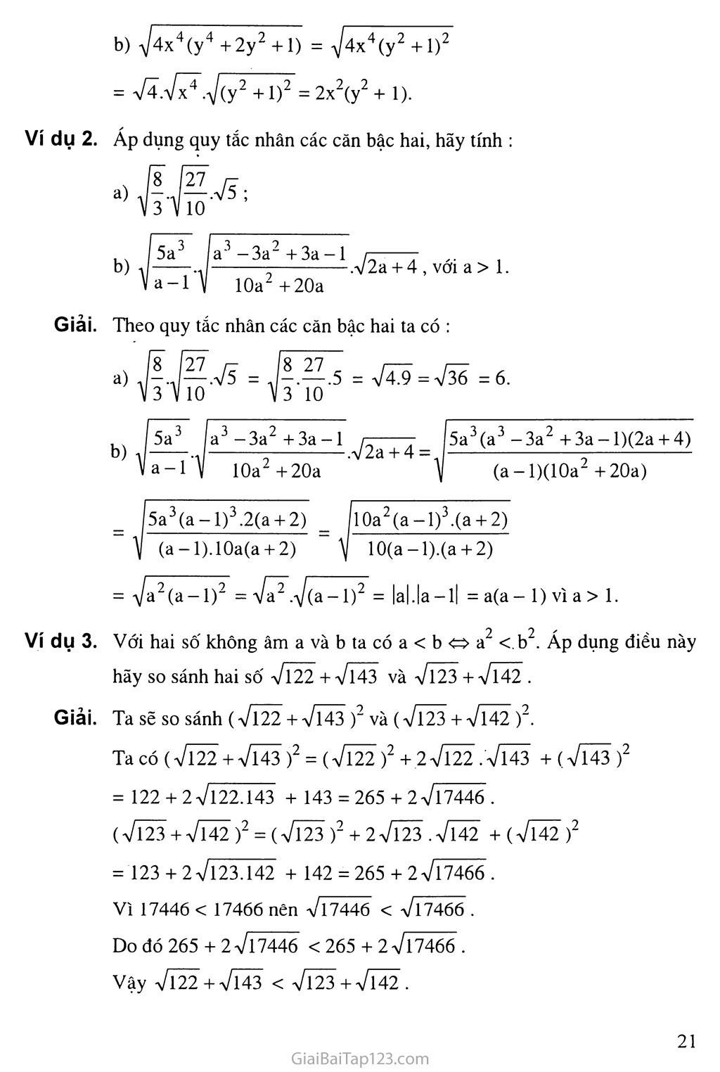 Bài 3.  Liên hệ giữa phép nhân và phép khai phương trang 2