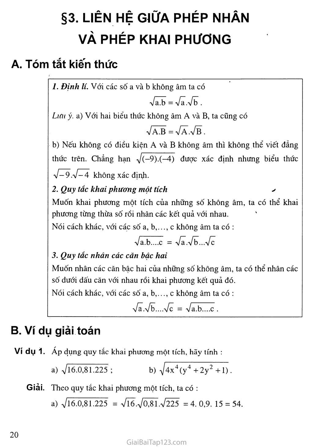 Bài 3.  Liên hệ giữa phép nhân và phép khai phương trang 1