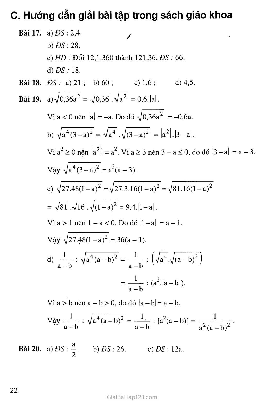 Bài 3.  Liên hệ giữa phép nhân và phép khai phương trang 3