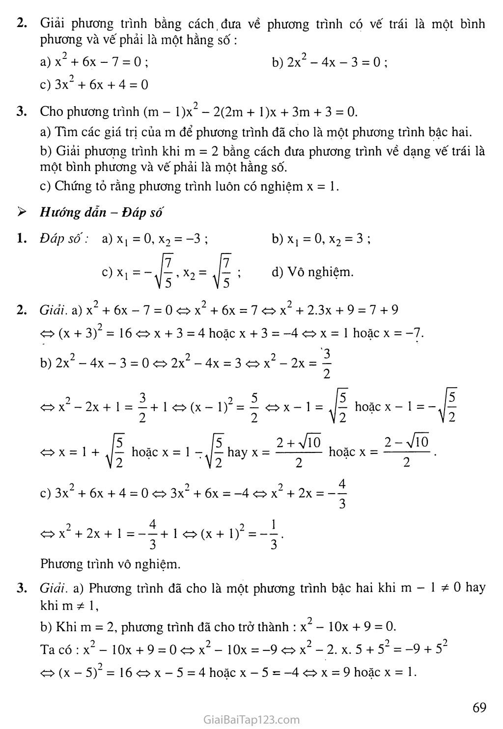Bài 3. Phương trình bậc hai một ẩn số trang 5