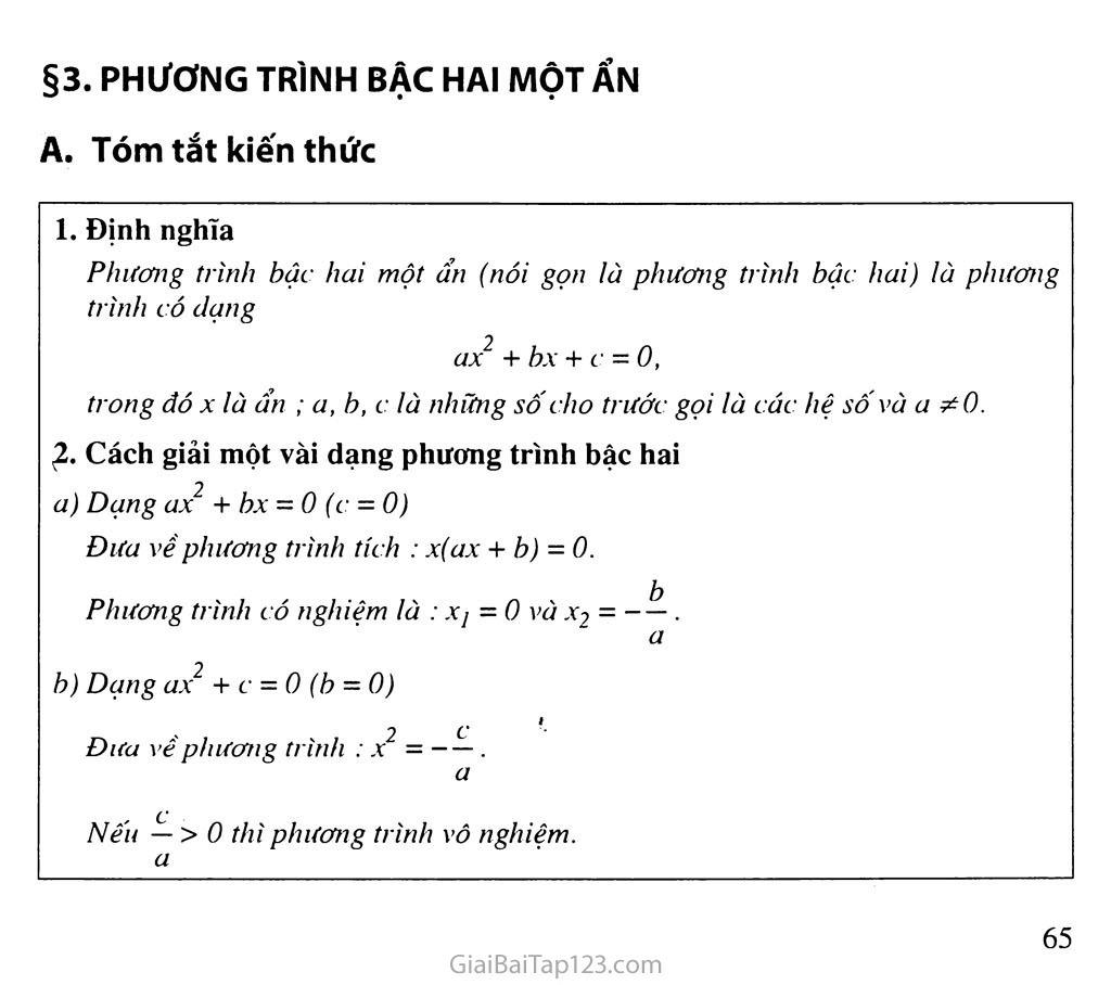 Bài 3. Phương trình bậc hai một ẩn số trang 1