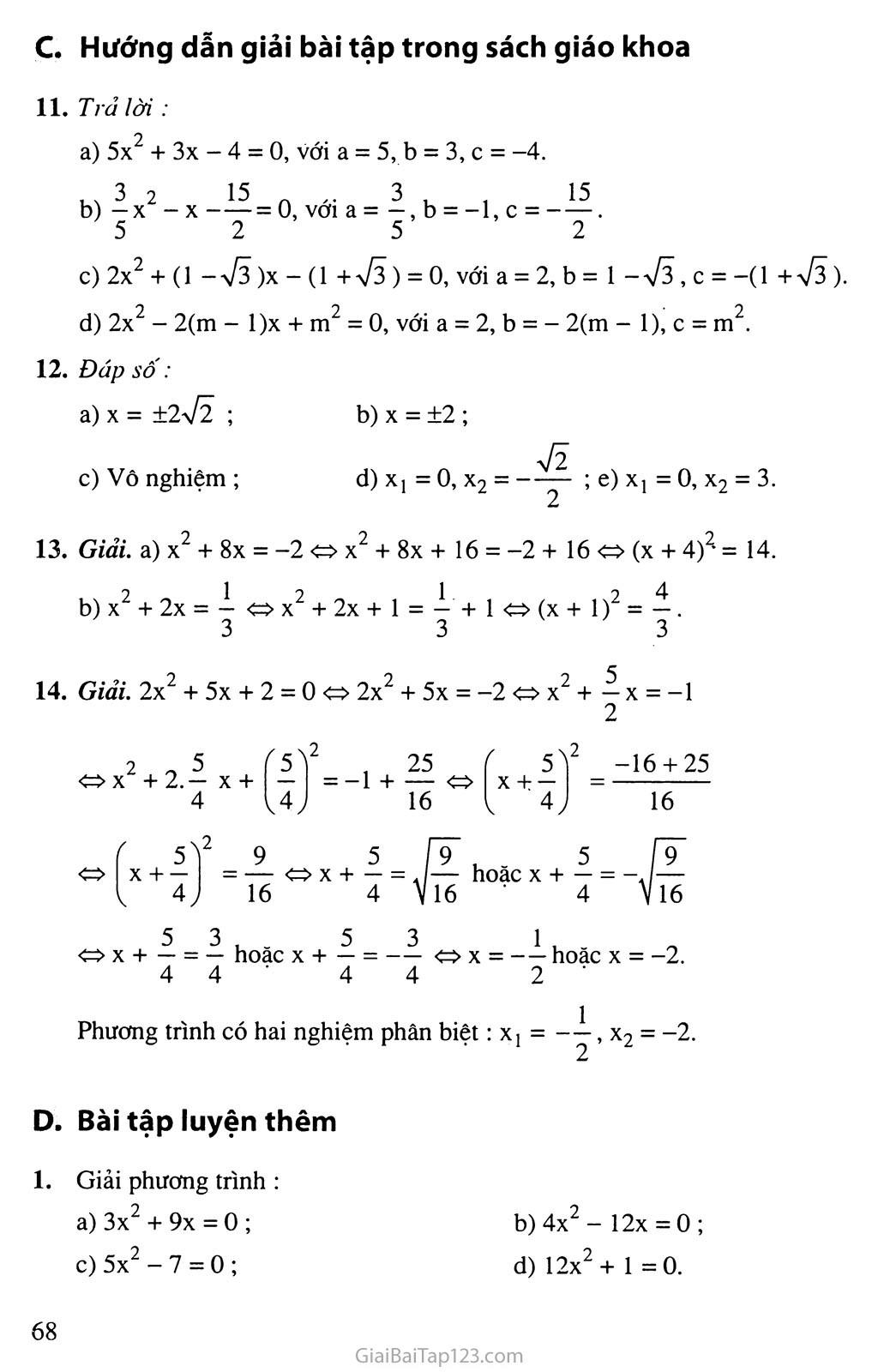 Bài 3. Phương trình bậc hai một ẩn số trang 4