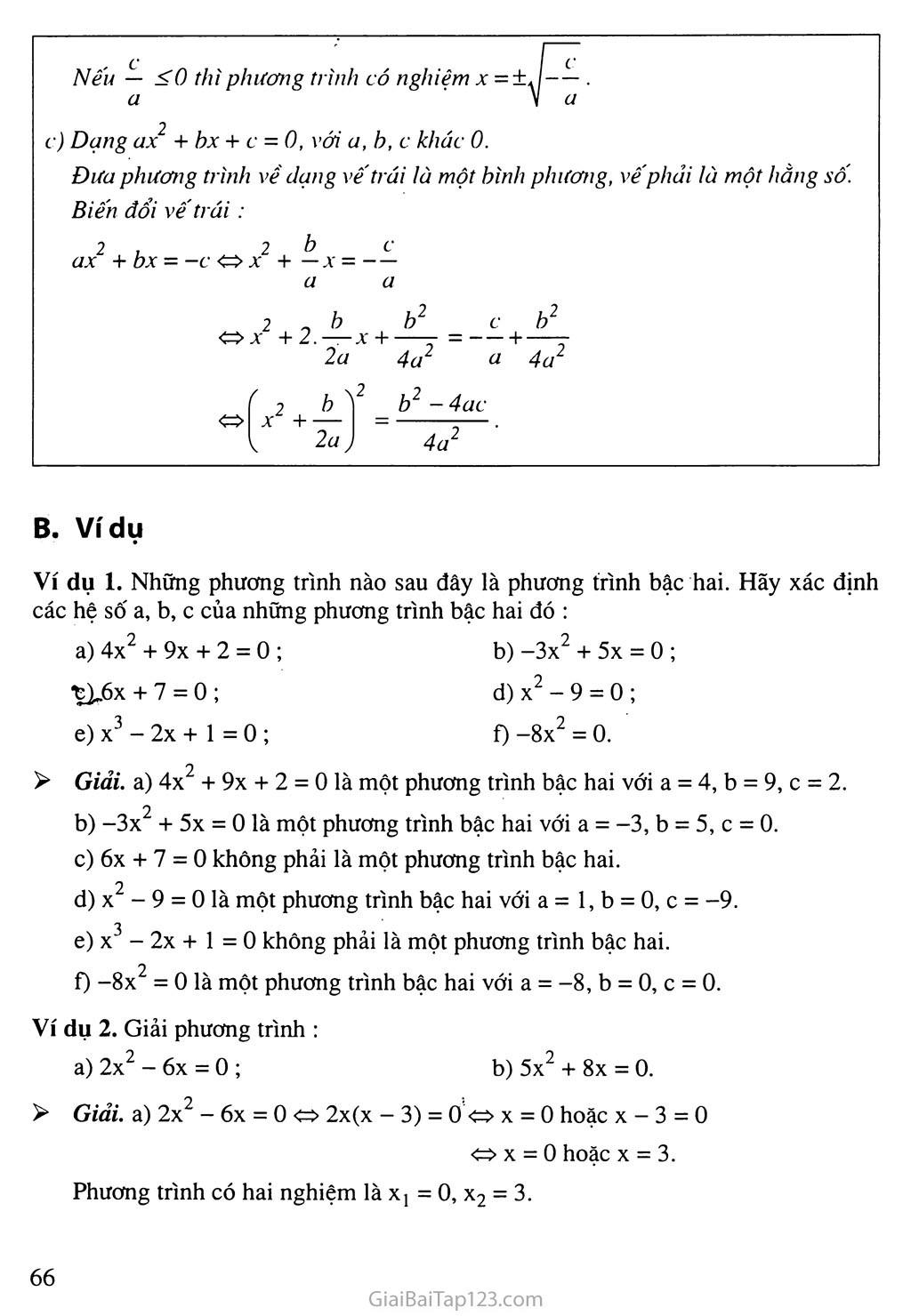Bài 3. Phương trình bậc hai một ẩn số trang 2