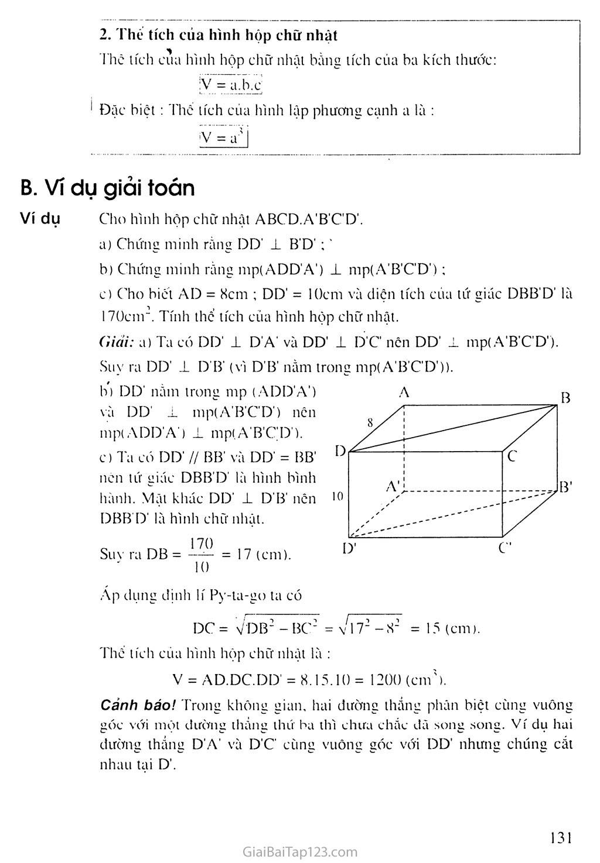 Thể tích của hình hộp chữ nhật