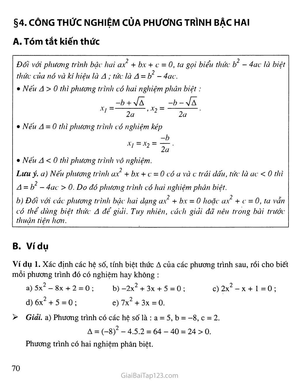 Bài 4. Công thức nghiệm của phương trình bậc hai trang 1