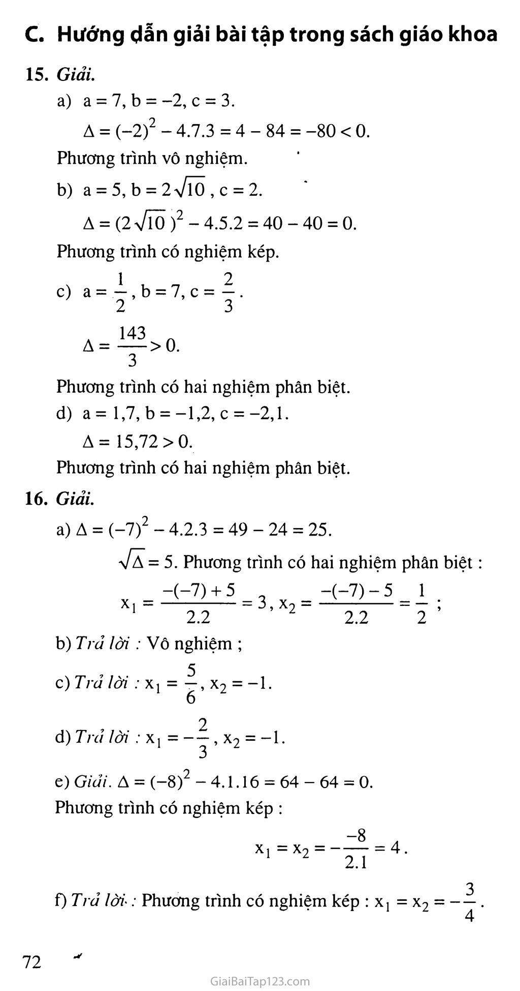 Bài 4. Công thức nghiệm của phương trình bậc hai trang 3