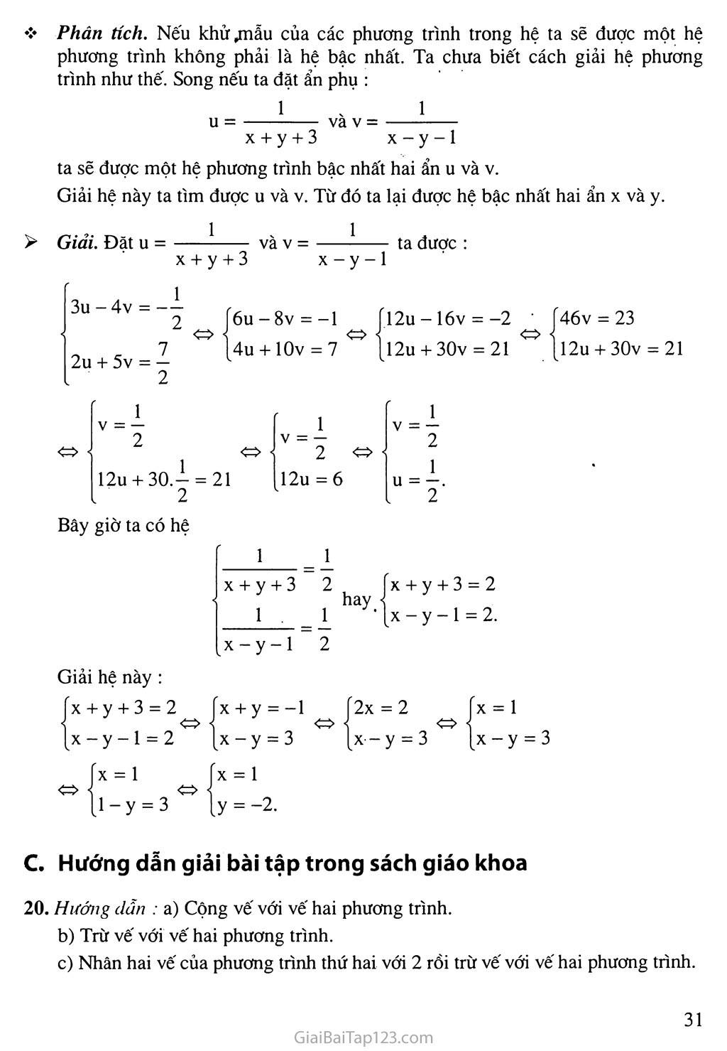 Bài 4. Giải hệ phương trình bằng phương pháp cộng đại số trang 3