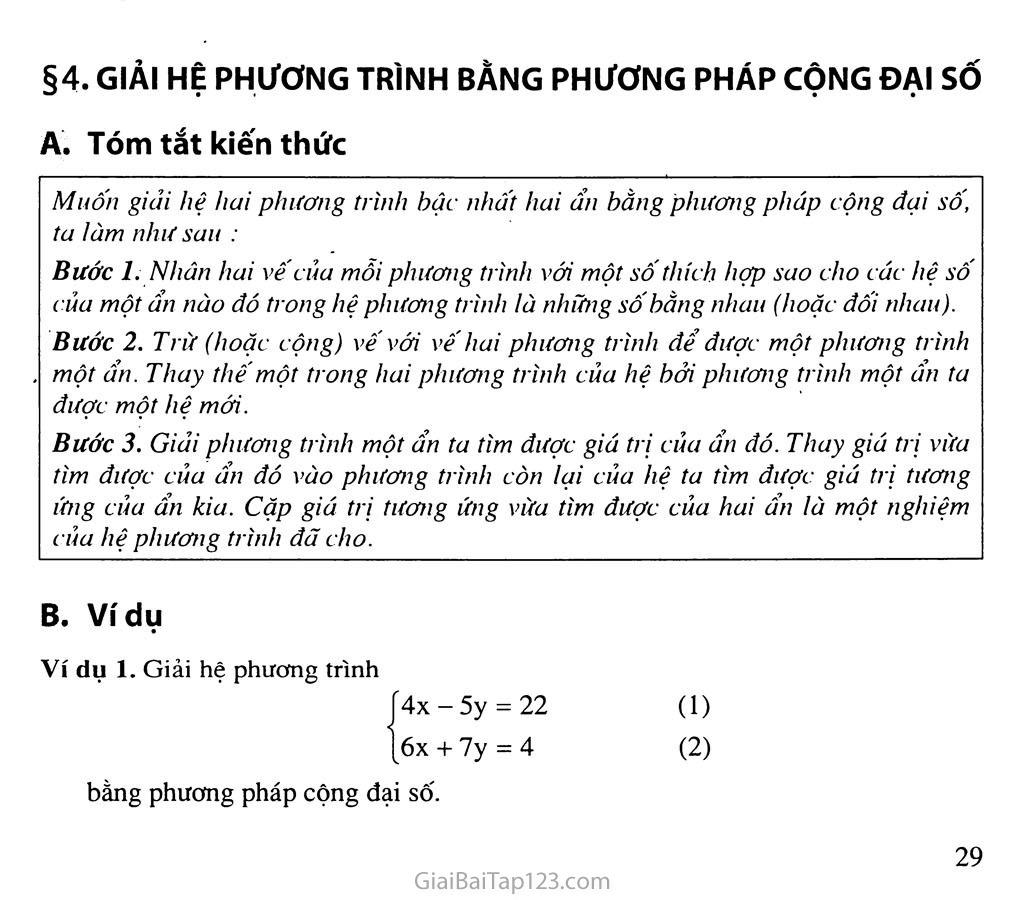 Bài 4. Giải hệ phương trình bằng phương pháp cộng đại số trang 1