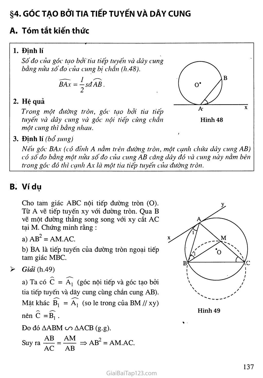 Bài 4. Góc tạo bởi tia tiếp tuyến và dây cung trang 1
