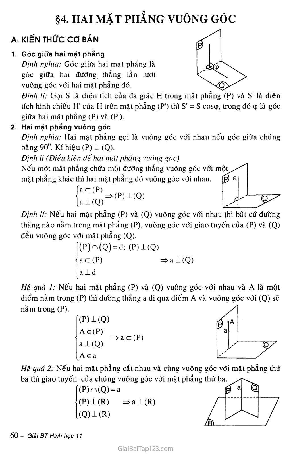 Bài 4. Hai mặt phẳng vuông góc trang 1