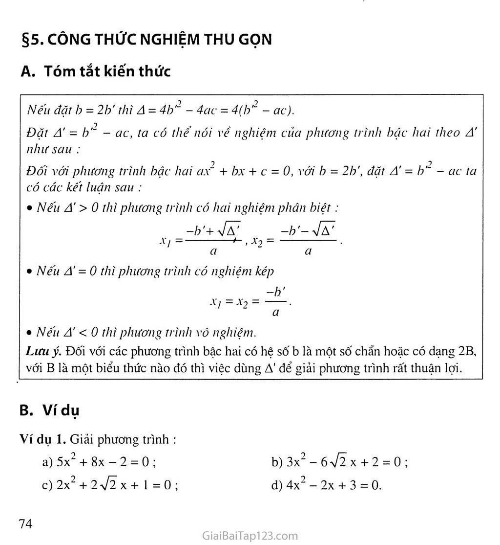 Bài 5. Công thức nghiệm thu gọn trang 1