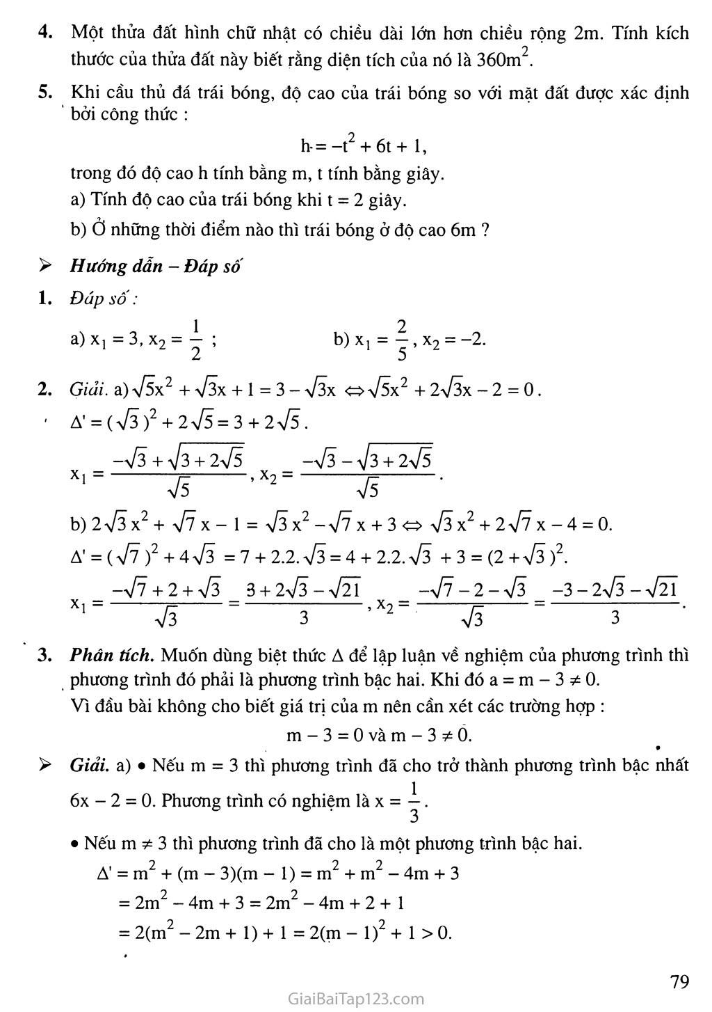 Bài 5. Công thức nghiệm thu gọn trang 6