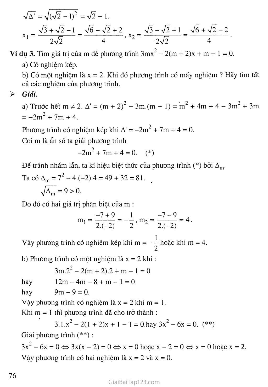 Bài 5. Công thức nghiệm thu gọn trang 3