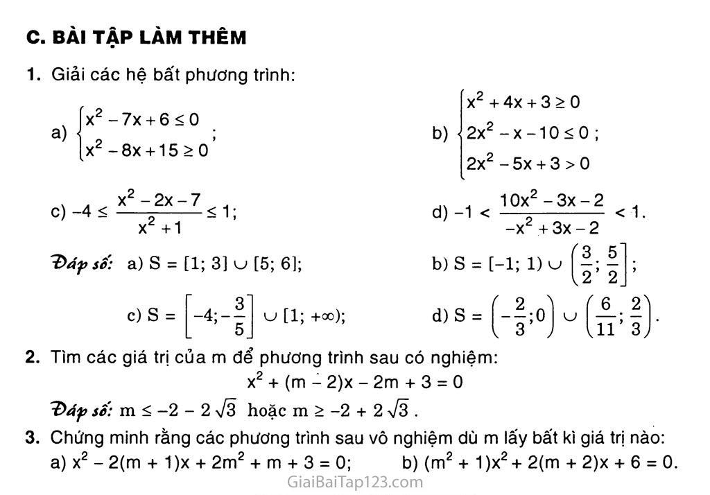 Bài 5. Dấu của tam thức bậc hai trang 6