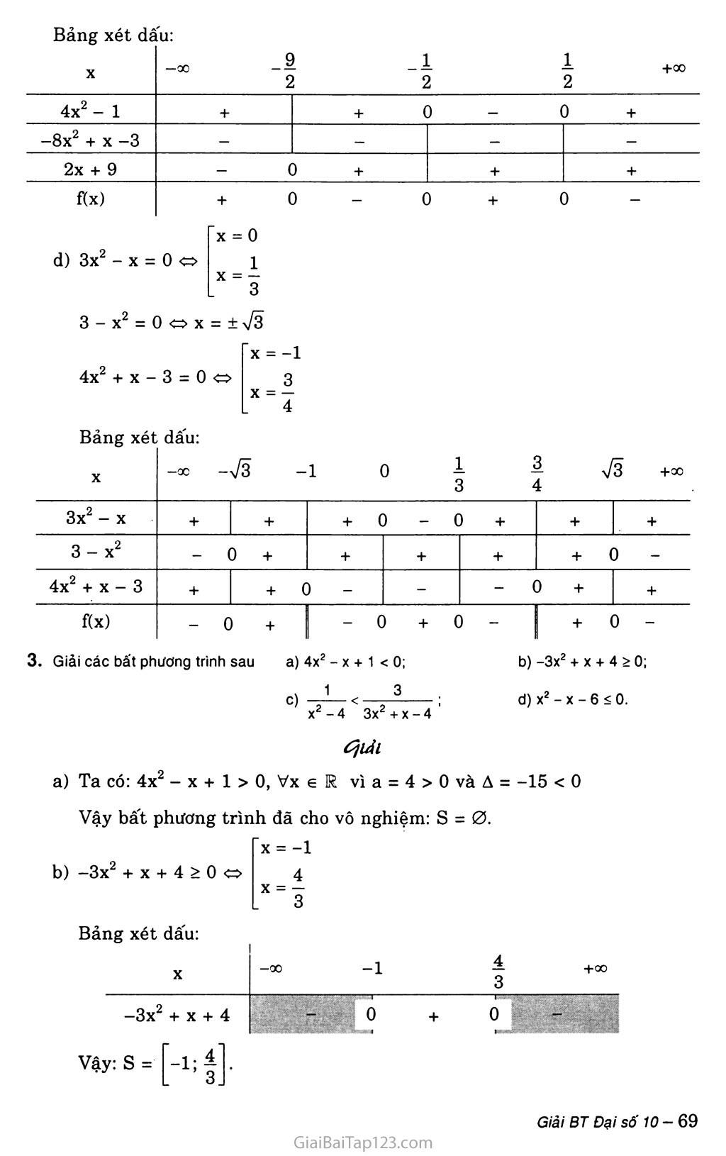 Bài 5. Dấu của tam thức bậc hai trang 4