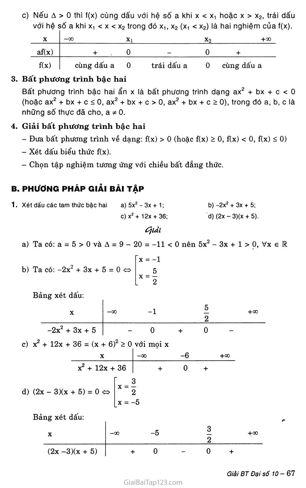 Bài 5. Dấu của tam thức bậc hai trang 2