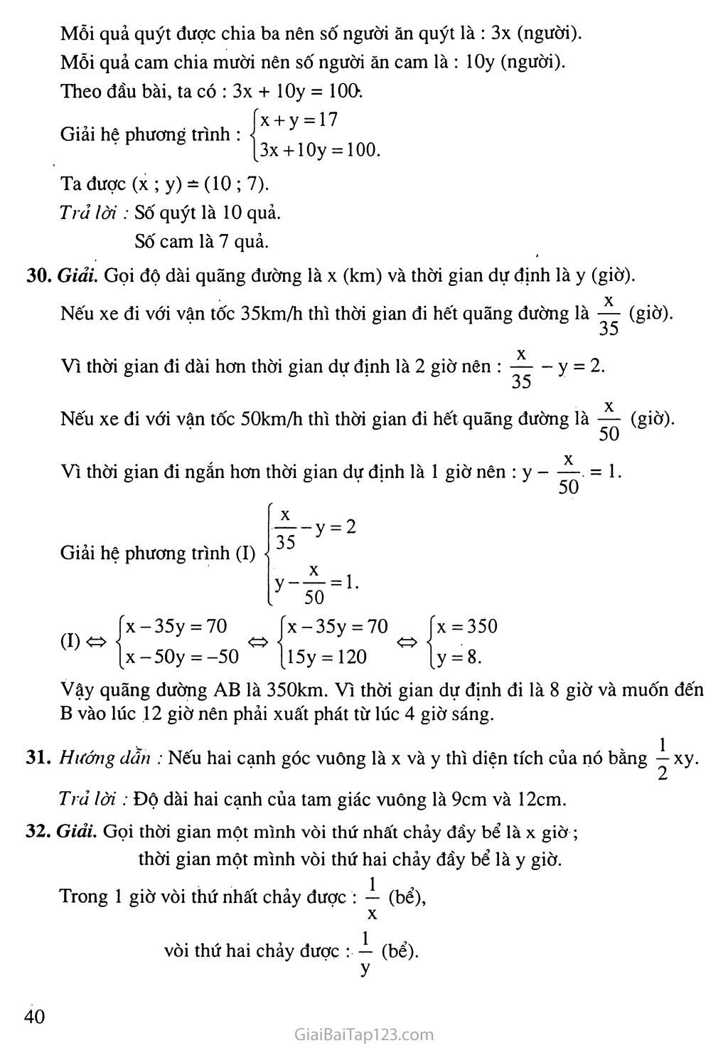Bài 5. Giải bài toán bằng cách lập hệ phương trình trang 5